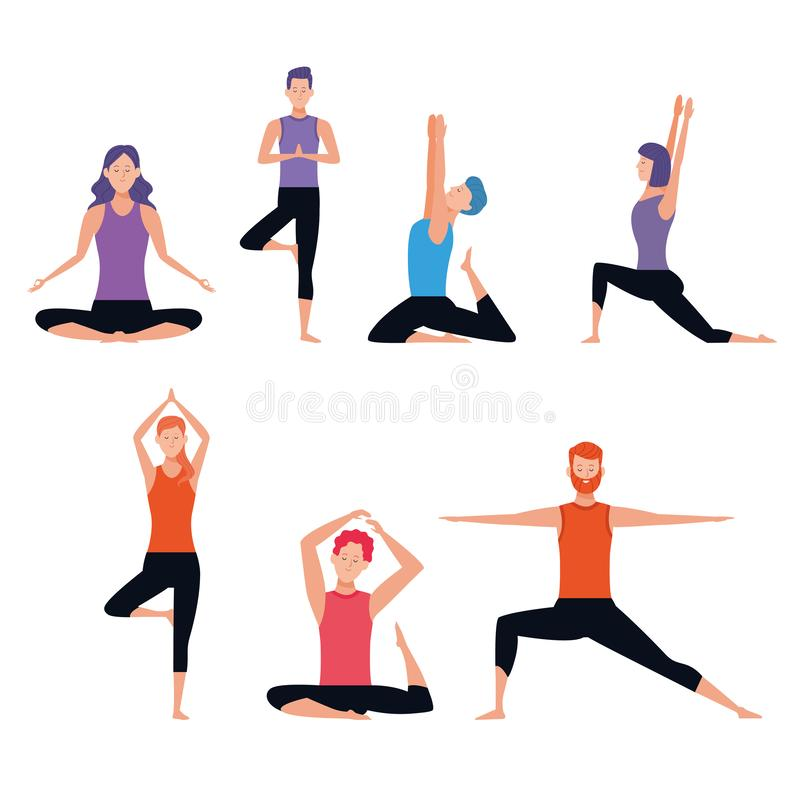 Set of person doing yoga poses vector illustration