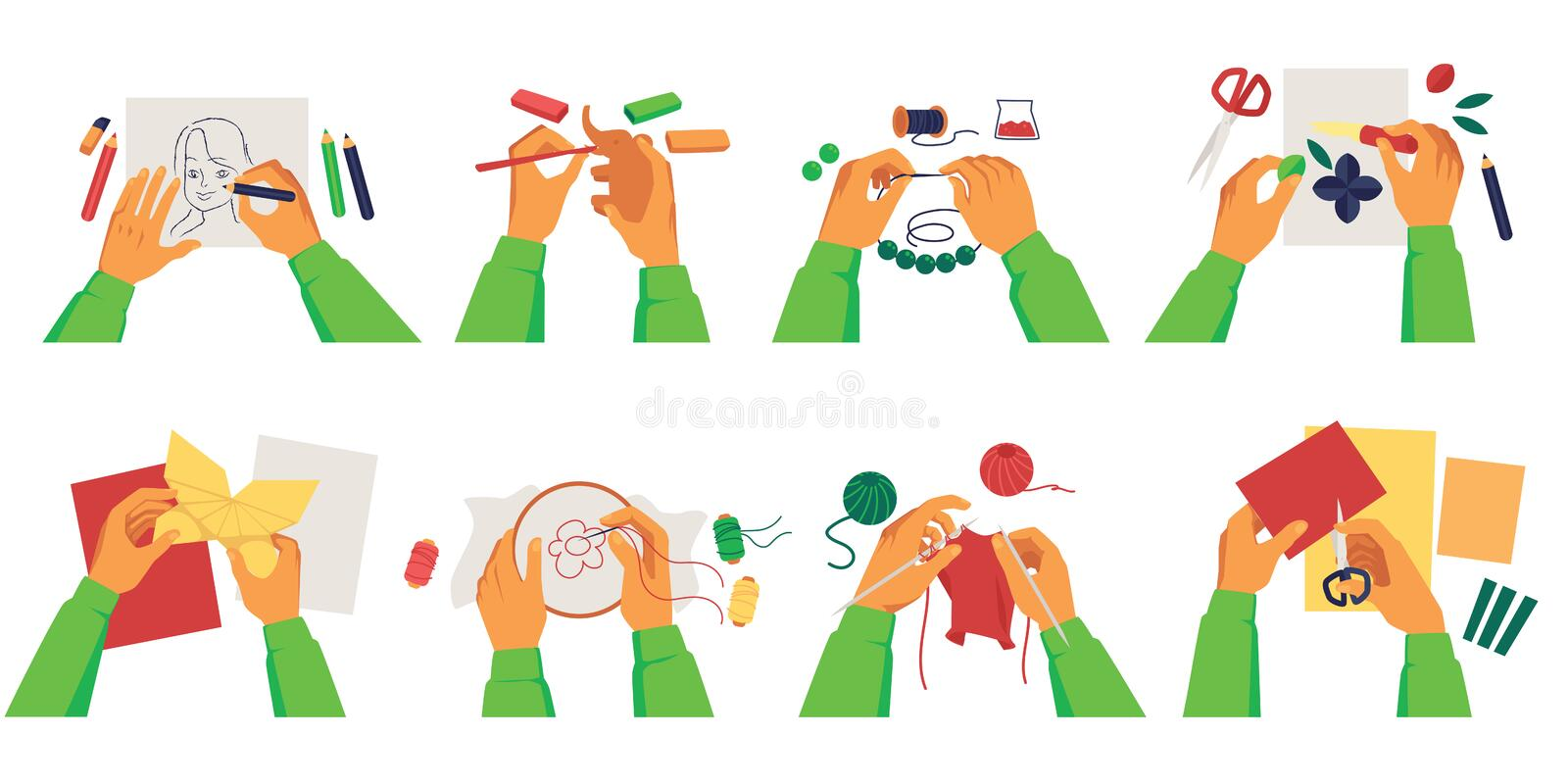 Set of person hands making diy crafts of various creative hobbies cartoon style stock illustration