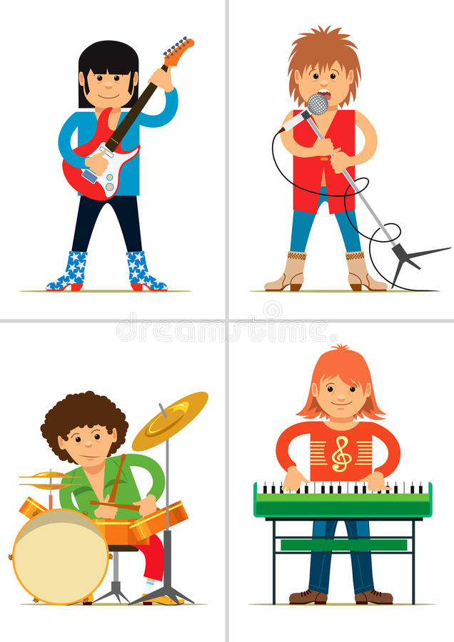 Set of personages. Rock musicians. Vector illustration stock illustration