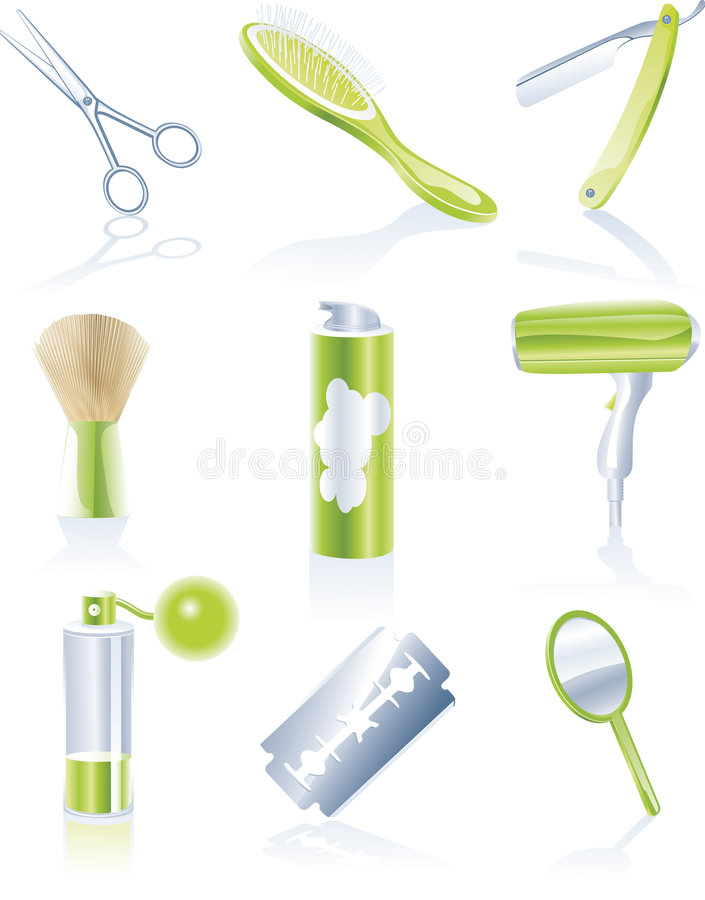 Set of personal haircare icons royalty free illustration