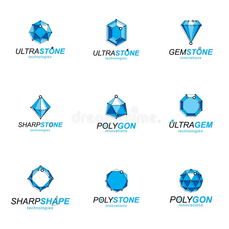 Set of perspective technology shapes, polygonal wireframe objects collection. Collection of diamond design elements stock illustration