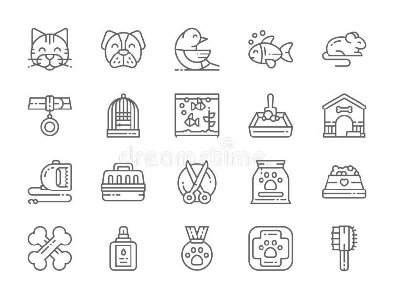 Set of Pet Shop Line Icons. Cat, Dog, Bird, Parrot, Fish, Mouse and more. vector illustration