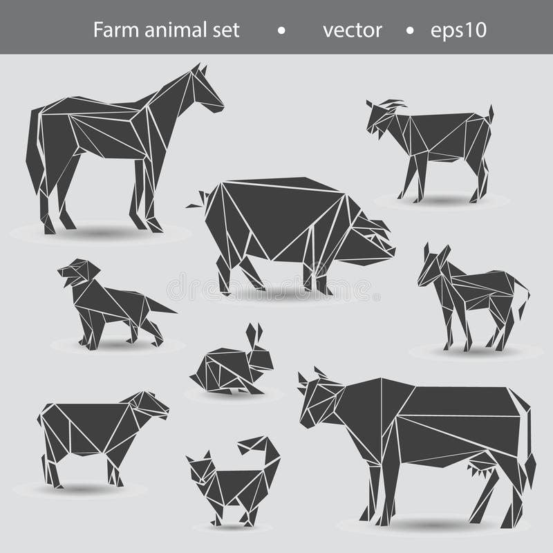 Set of pets from the farm. Horse, cow, donkey, goat, sheep, dog, cat, rabbit royalty free illustration