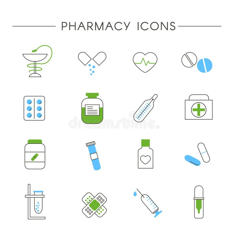 Set of Pharmacy and Medicine Linear Icons vector illustration