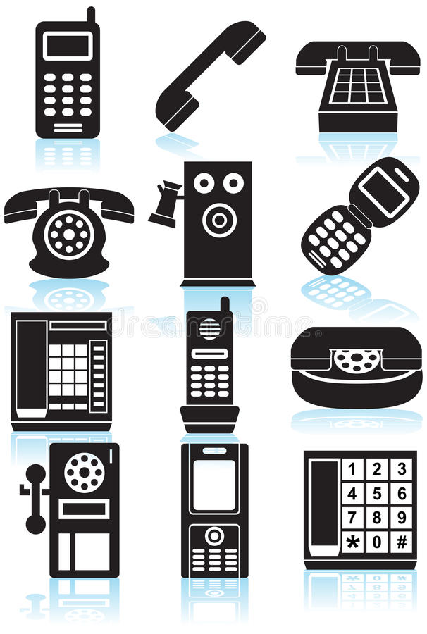 Download Set Of Phone Icons - Black And White Stock Vector - Image: 9547073