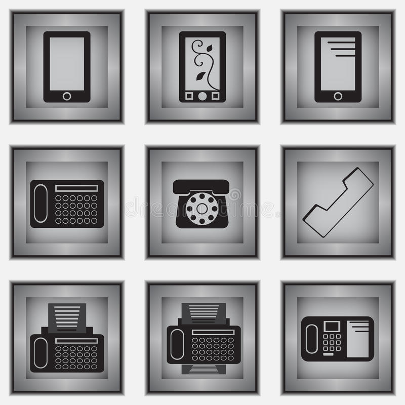Download Set of 9 phone icons stock vector. Illustration of modern - 31033113