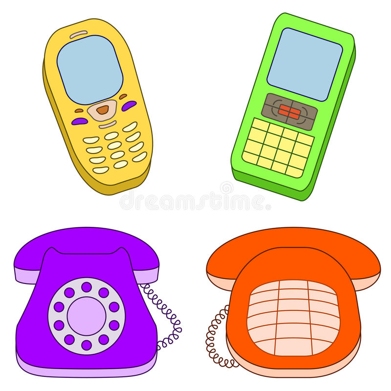 Set phones. Set various phones, mobile and desktop, isolated on white stock illustration