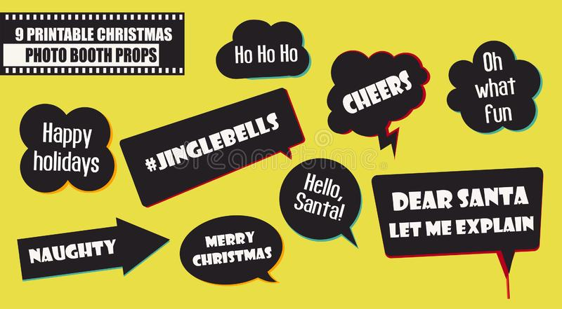 Set of photo booth props vector illustration. Christmas party collection royalty free illustration