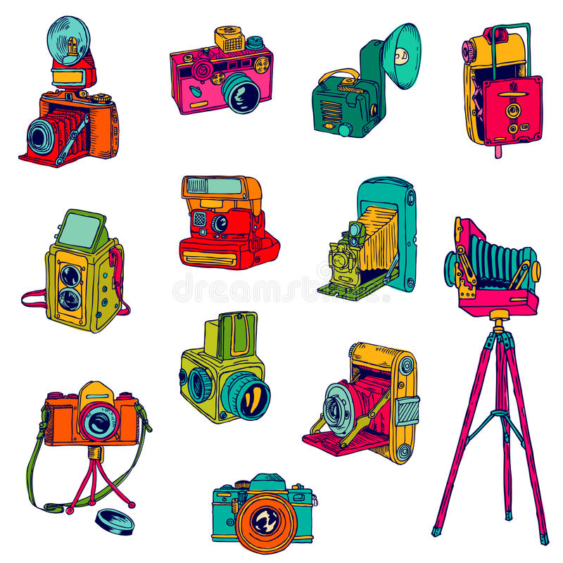 Download Set of Photo Cameras stock vector. Illustration of antique - 39096685