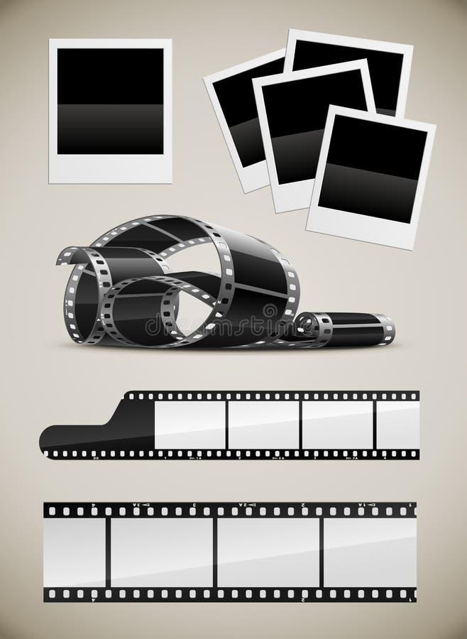 Set Of Photo Film And Polaroid Pictures Royalty Free Stock Photos