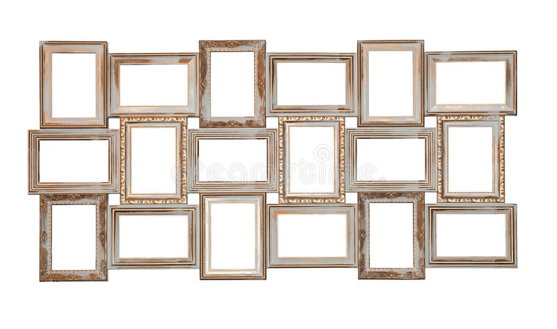 Set of photo frames antique with few blank windows royalty free stock photos