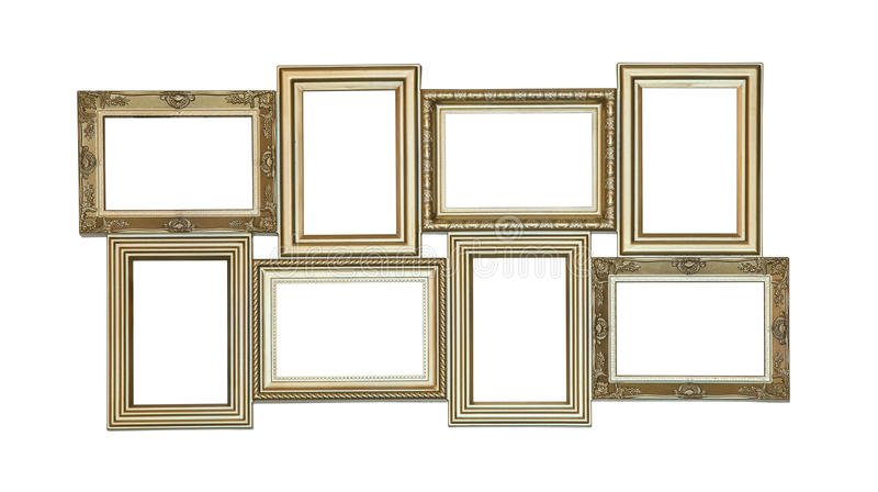 Set of photo frames antique with few blank windows stock photos