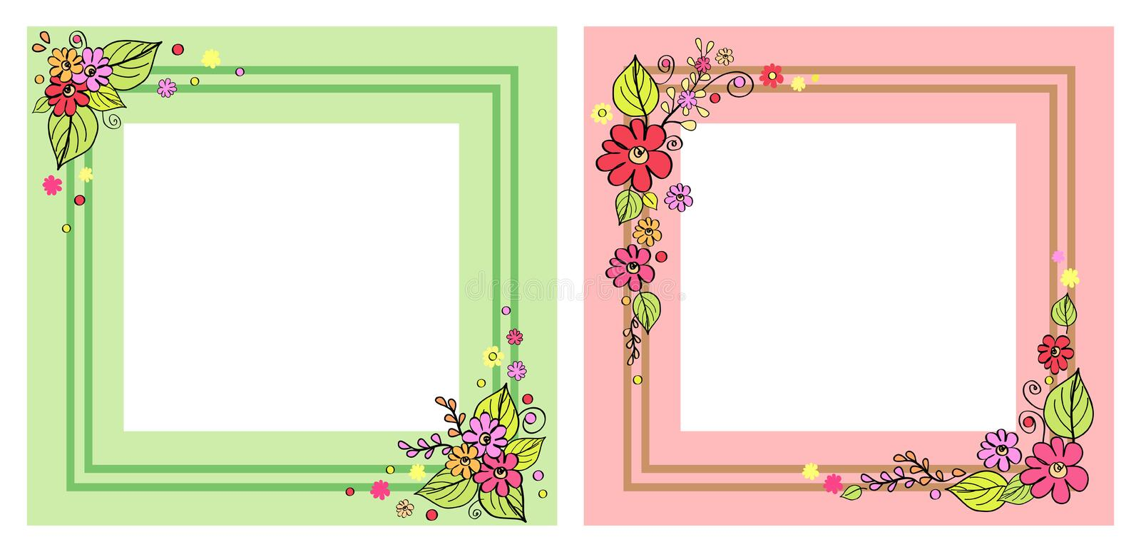 Set Of Photo Frames In Pink And Green Color Vector Stock Vector ...