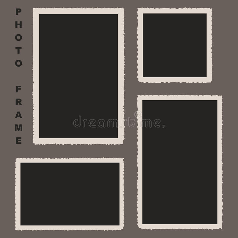 Set of Photo Frames with Rough Edges. Vector Illustration for Yo royalty free illustration