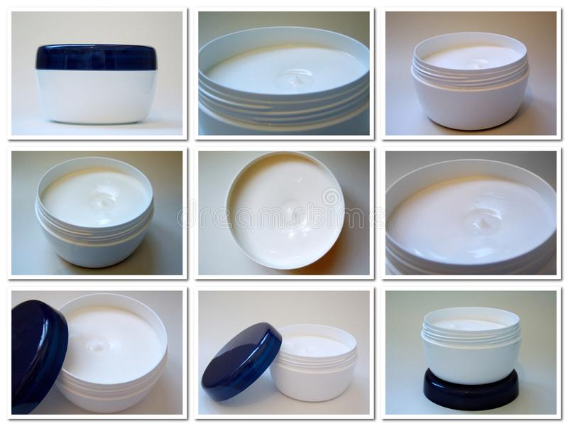 Set of photo jars of cream on a light background royalty free stock photo