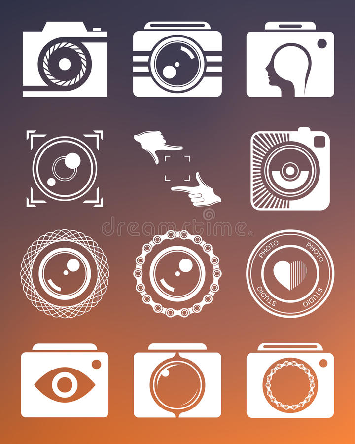 Set Photo Logo. Vector collection of photography logo templates. Photography vintage and modern badges and photo labels. Photocam logotypes vector illustration
