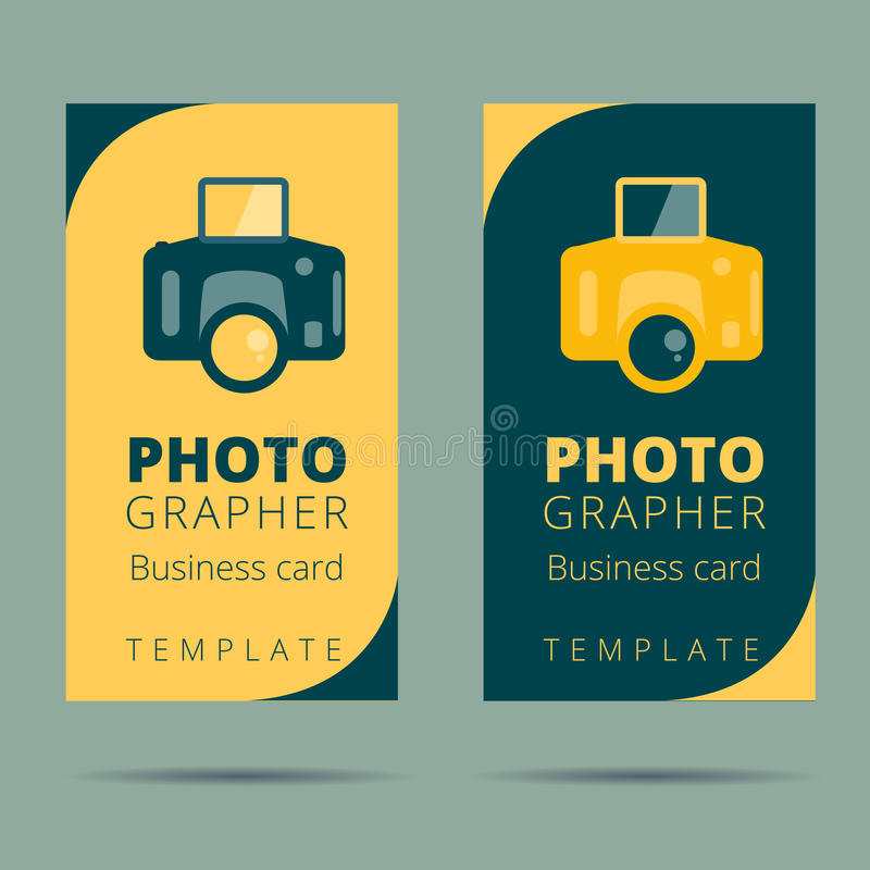 Set of photographer, photo studio business card design template, stock illustration