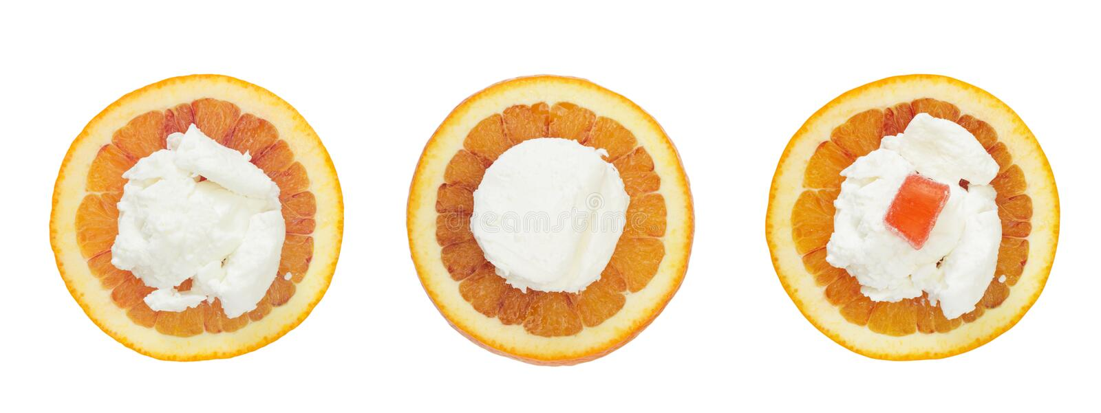 A set of photos from above of fresh sweet orange slices and some homemade cottage cheese. Healthy vegetarian breakfast. Isolated royalty free stock photos