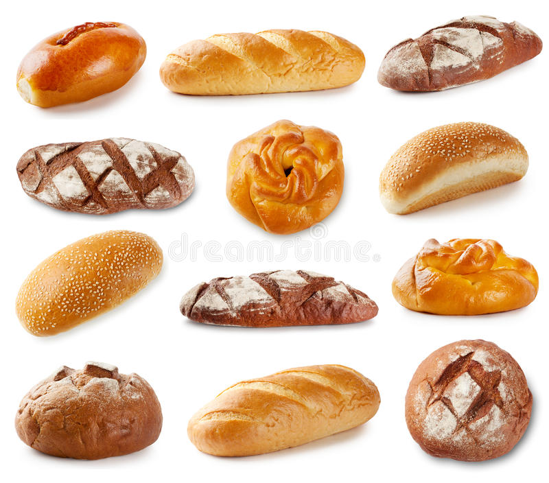 Set of photos with bakery products. Isolated on white background royalty free stock photos