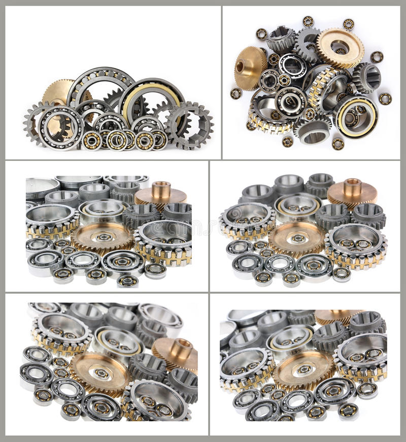 Set of photos bearings and gears. Set of photos, heap bearings and gears on a white background stock photo