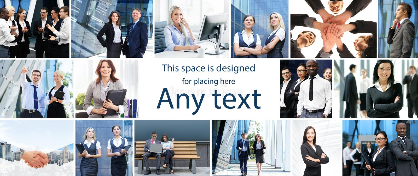 Set of photos about international business and office workers. With copy space royalty free stock photography