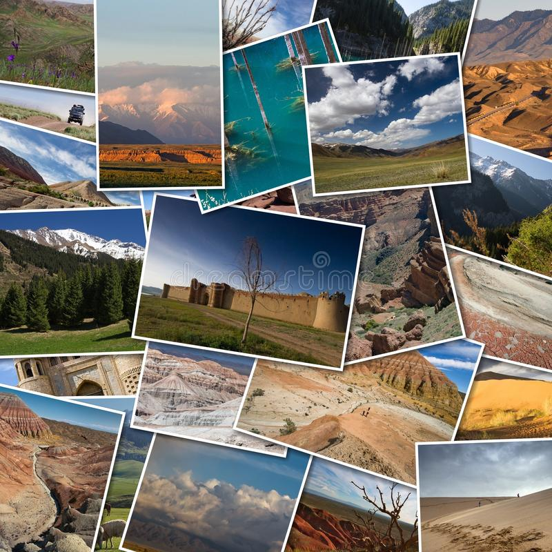 Set of photos of Kazakhstan lying on the table. Collage of photo royalty free stock image