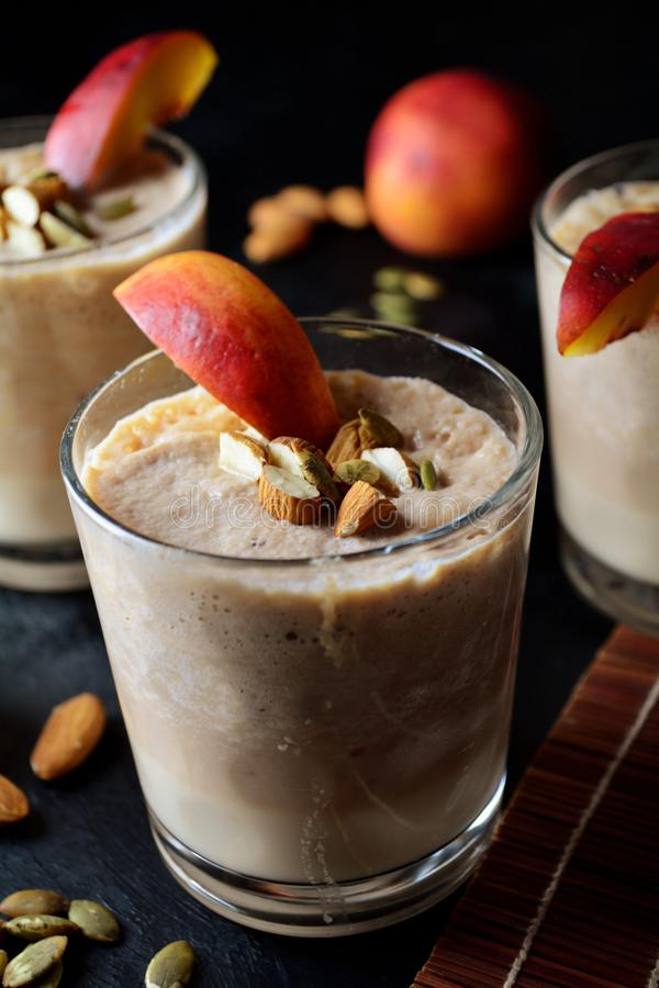 Peach Smoothie with Almond Milk and Apples stock image