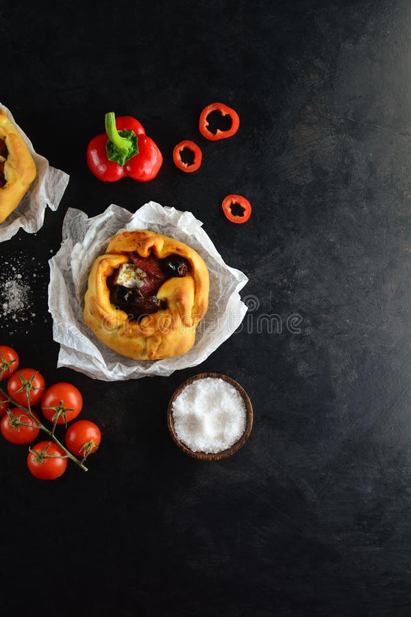 Homemade Galette with Various Mediterranean Ingredients stock photo