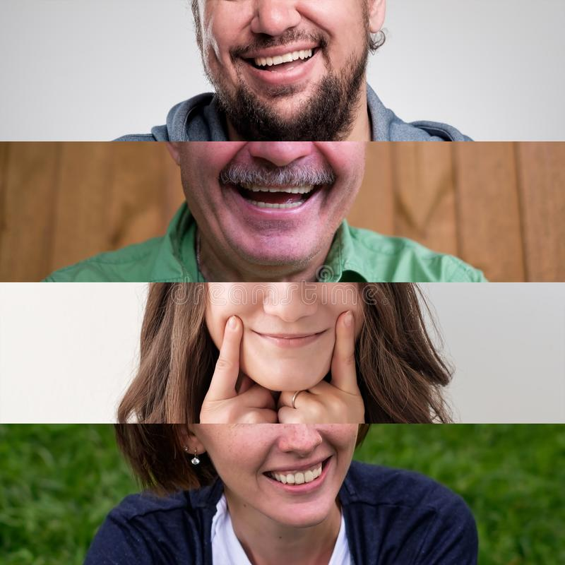 Set of photos of smiling people. MAn and woman mouth close up. royalty free stock image