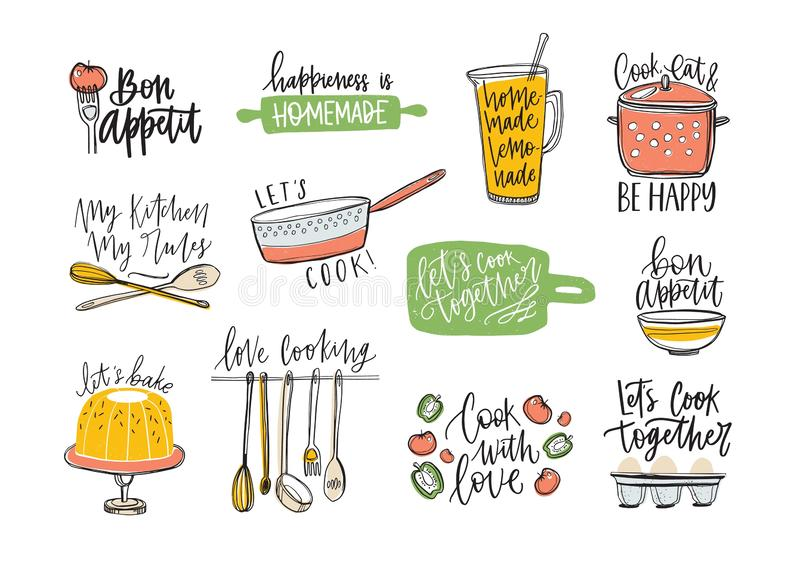 Set of phrases handwritten with cursive font and decorated with kitchen supplies and food products. Bundle of letterings. And tools for cooking or homemade stock illustration