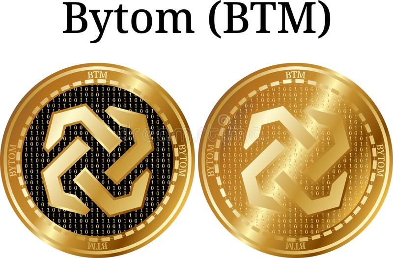 Set of physical golden coin Bytom (BTM), digital cryptocurrency. Bytom (BTM) icon set. royalty free illustration