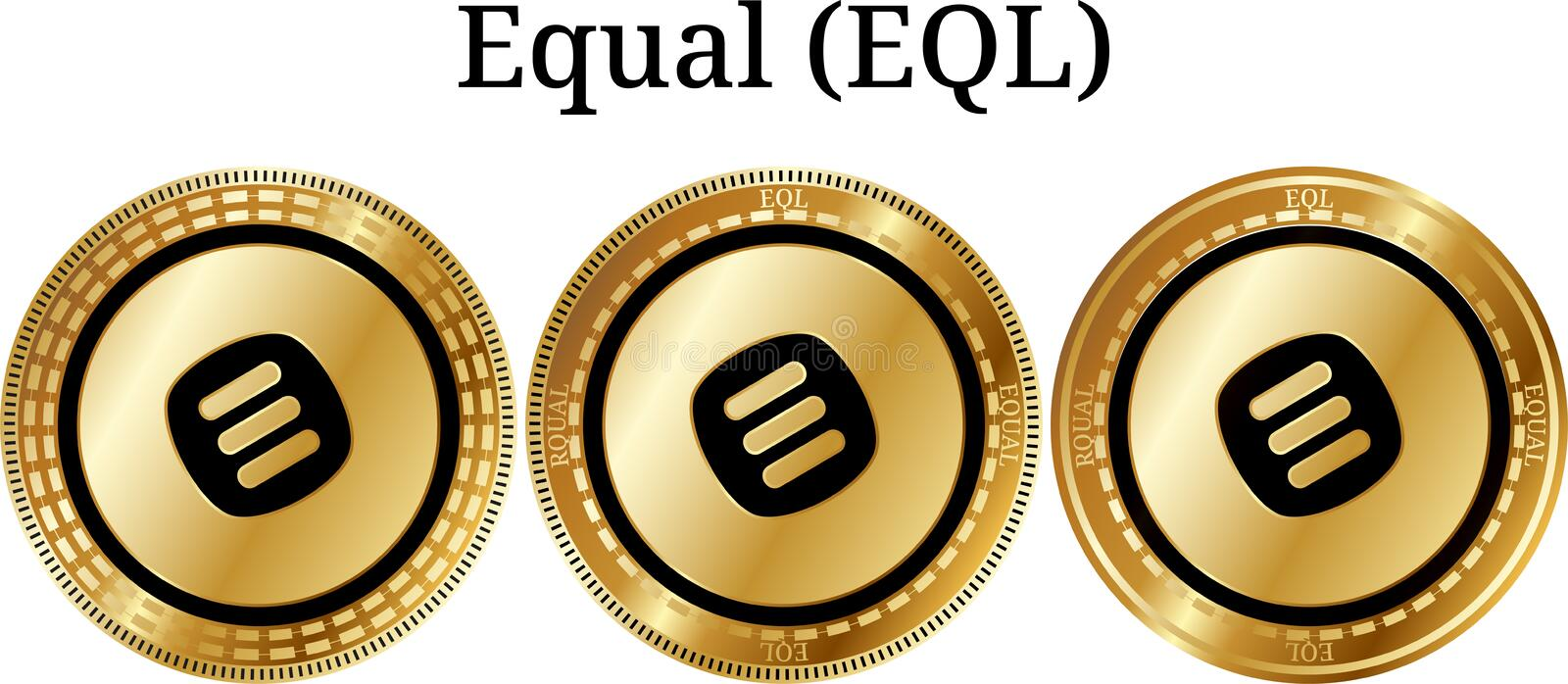 Set of physical golden coin Equal (EQL). Digital cryptocurrency. Equal (EQL) icon set. Vector illustration isolated on white background stock illustration