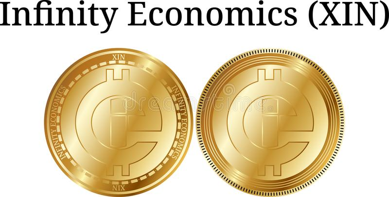 Set of physical golden coin Infinity Economics (XIN) stock illustration
