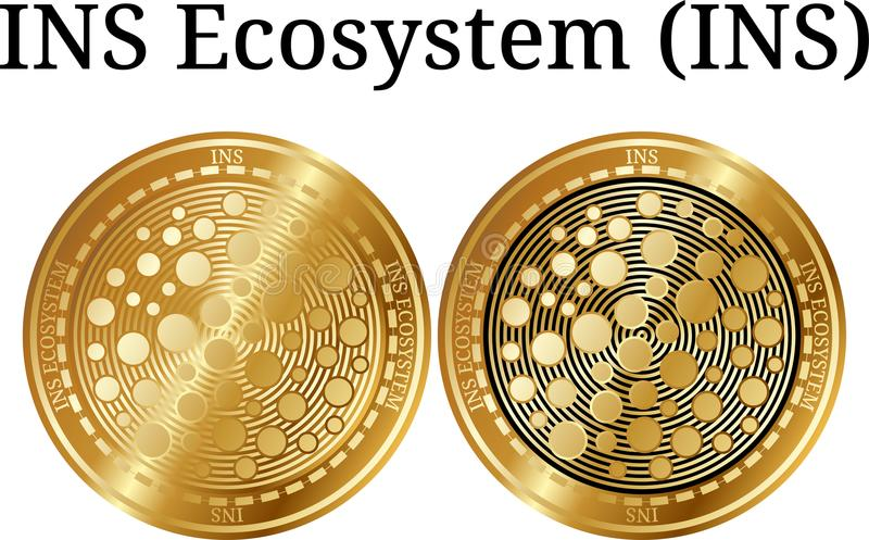 Set of physical golden coin INS Ecosystem (INS), digital cryptocurrency. INS Ecosystem (INS) icon set. royalty free illustration