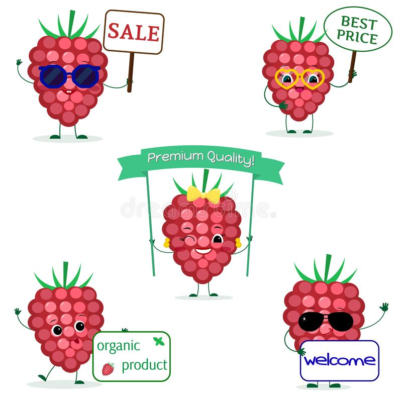 Set pięć dojrzałych malinek jagodowy Smiley w kreskówka stylu Z różnymi talerzami i szkłami Logo, szablon, projekt Mieszkanie, ilustracja wektor