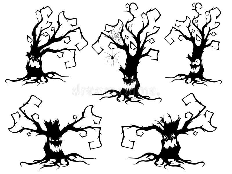 Set pięć Halloweenowych starych wysuszonych drzew royalty ilustracja
