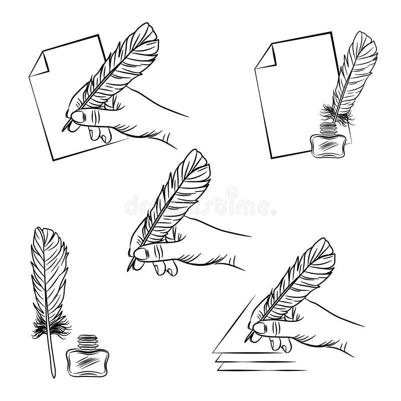 set pięć ilustracj z ręki mienia piórka piórem, ilustracja wektor