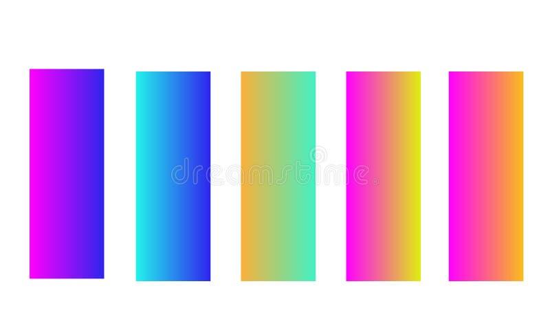 Set pięć kolorowych jaskrawych sztandarów, kolorowe glansowane etykietki ilustracja wektor
