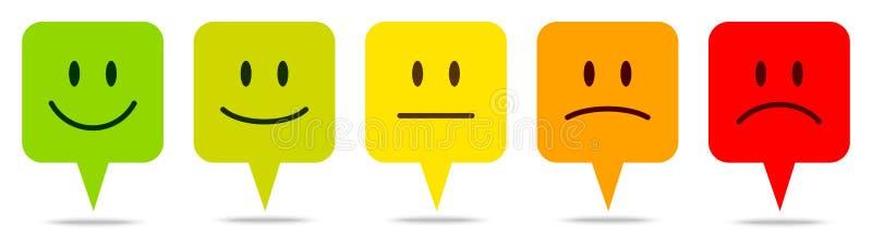 Set Pięć mowa bąbli twarzy Kolorowa informacje zwrotne ilustracja wektor
