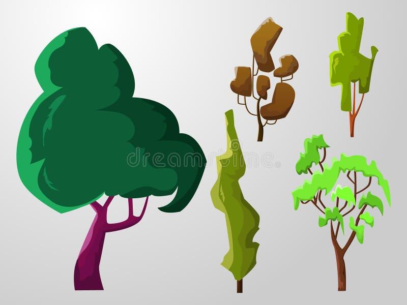 Set pięć różnych wolumetrycznych drzew royalty ilustracja