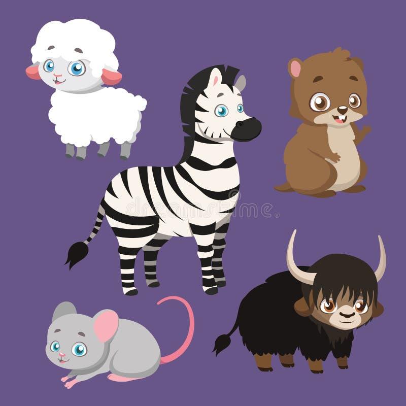 Set pięć różnych zwierzęcych gatunków royalty ilustracja