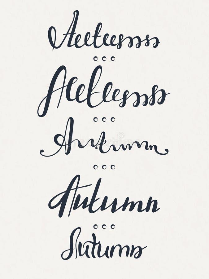 Set pięć słów jesień literowanie kaligrafia ręcznie pisany tekst upadek royalty ilustracja