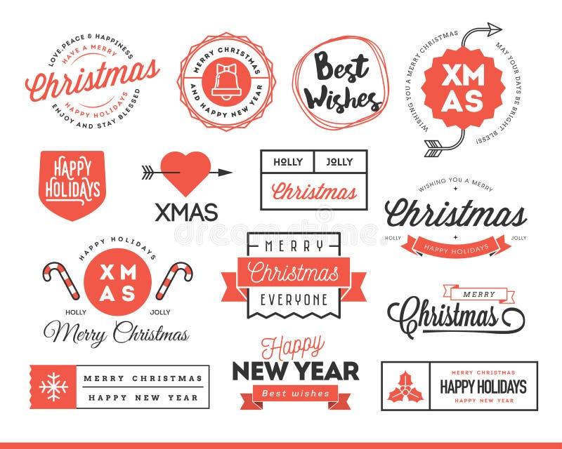 Set piękne Bożenarodzeniowe o temacie etykietki, odznaki i logowie, ilustracji