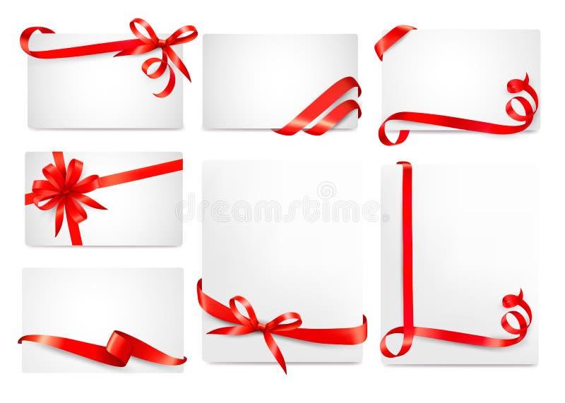 Set piękne karty z czerwonym prezentem ono kłania się royalty ilustracja
