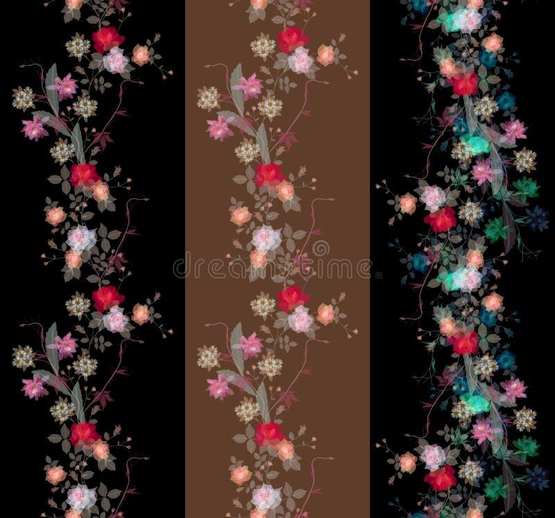 Set piękne niekończący się kwieciste przezroczystość granicy ilustracji