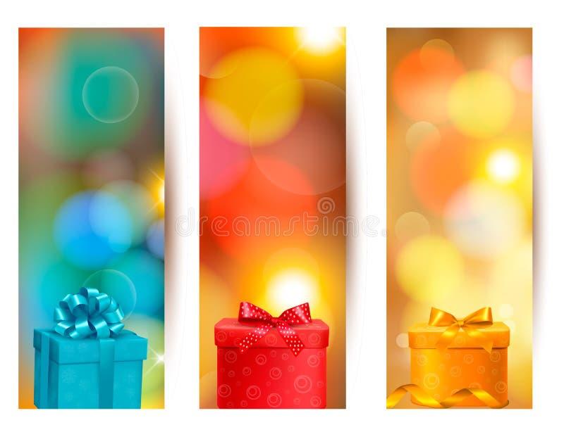 Set piękne prezent karty z czerwonym prezentem kłania się dowcip ilustracja wektor