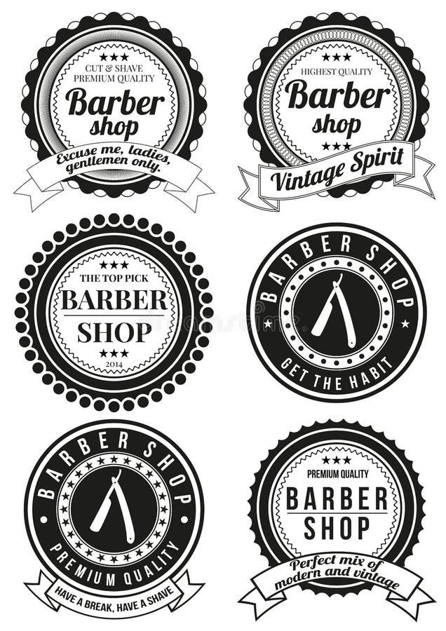 Set piękne round rocznika fryzjera męskiego sklepu odznaki ilustracja wektor