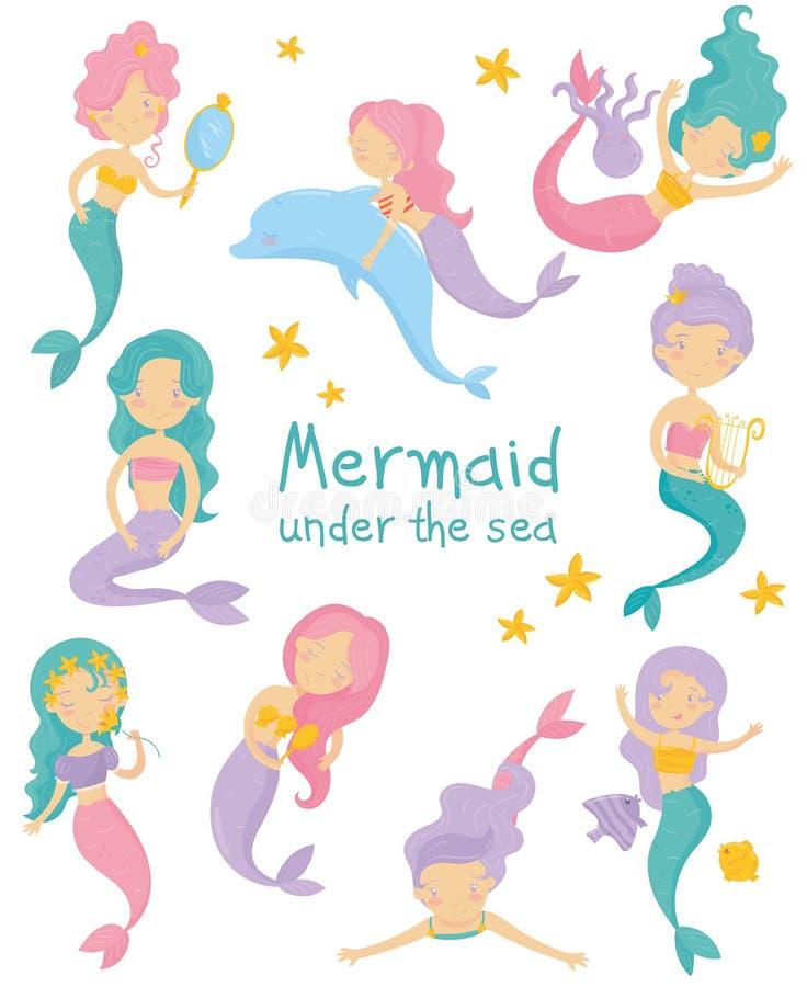 Set piękne syrenki Małe dziewczynki z kolorowymi włosianymi i rybimi ogonami Fantastyczny denny życie Mityczne morskie istoty royalty ilustracja