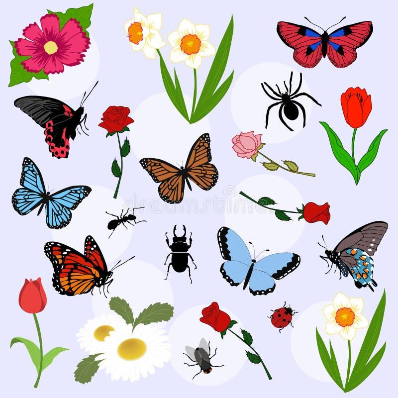 Set piękni kolor wiosny elementy Lata tło col royalty ilustracja