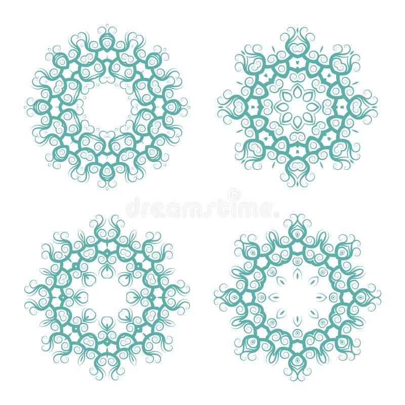 Set piękni płatków śniegu wzory ornament dekoracyjny mandala również zwrócić corel ilustracji wektora royalty ilustracja